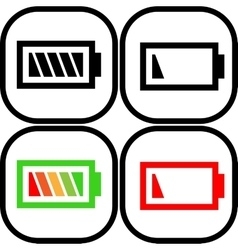 Set of battery icon -  flat design eps 10 vector