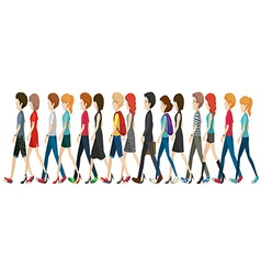 A group of faceless people walking in line vector