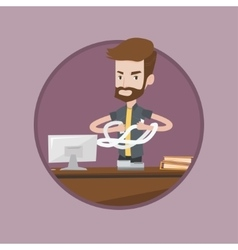 Angry businessman tearing bills or invoices vector image vector image