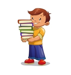 Boy with pile of books vector image vector image