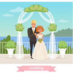 Bride and groom standing under floral arch vector