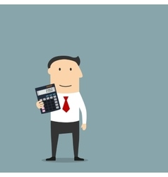 Businessman or accountant with calculator vector image vector image