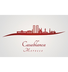 Casablanca skyline in red vector