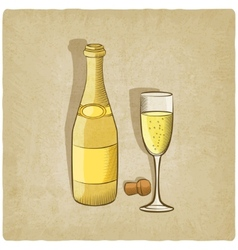 Champagne old background vector