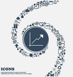 Chart icon in the center Around the many beautiful vector image