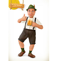 Cheerful man with beer cartoon character vector