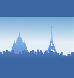 collection of paris city skyline scenery vector image