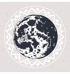 Drawing of full moon vector