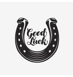 Good luck horseshoe with inscription vector