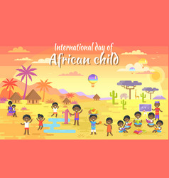 International day of african child big banner vector