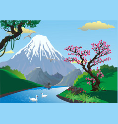 landscape - sakura on the river bank mount fuji vector image vector image