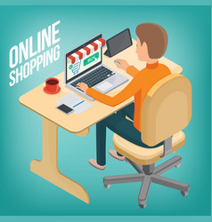 man makes a purchase on the internet using a vector image vector image
