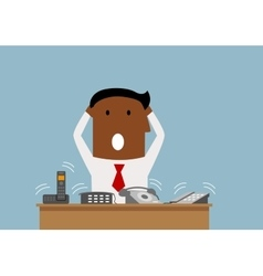 Overworked businessman with many phone calls vector image