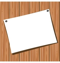 Paper on a wooden wall vector image vector image