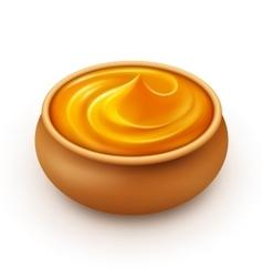 Pot of dense amber honey on white background vector