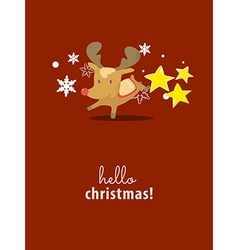 Reindeer on christmas card vector image vector image