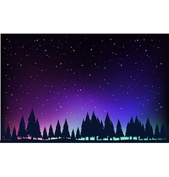 Scene with pine trees at night vector image vector image