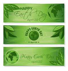 Set green banners for earth day april 22 vector