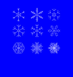 snowflake winter set of white isolated nine icon vector image vector image