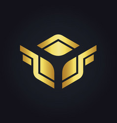 Square wing design gold logo vector