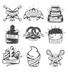 Vintage bakery icon set vector