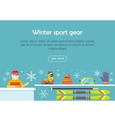 Winter sport gear flat design web banner vector