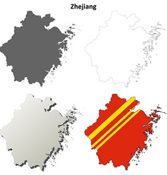 Zhejiang blank outline map set vector image vector image