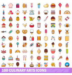 100 culinary arts icons set cartoon style vector image vector image