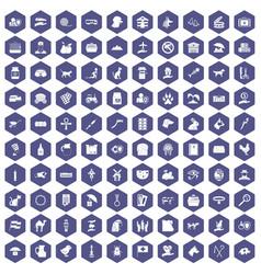 100 pets icons hexagon purple vector