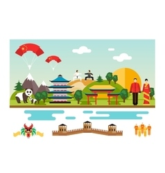 Symbols and landmarks of china vector
