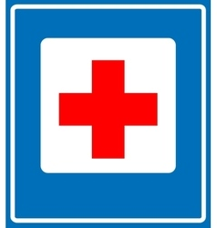 Medical cross sign icon Blue background vector image