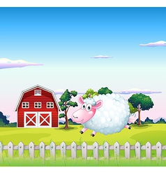 A sheep inside the fence with a barn at the back vector