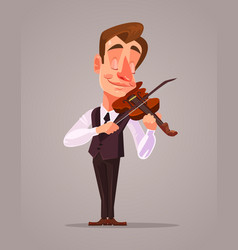 Violinist man character playing music vector