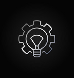 Light bulb with gear silver icon vector