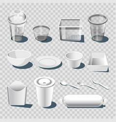 Plastic dishware or disposable tableware 3d vector