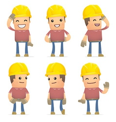 set of builder character in different poses vector image