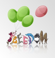 Freedom girl with balloon and animals vector