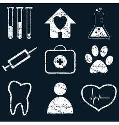 Medical icon set white grunge vector