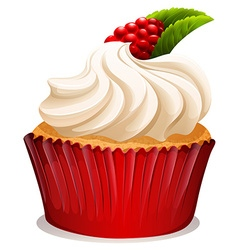 Cupcake with cream and rasberry vector