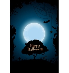 Halloween background with graveyard and tree vector