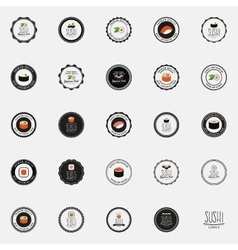 Set of sushi label vector