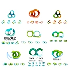 Set of company logotype branding designs swirl vector