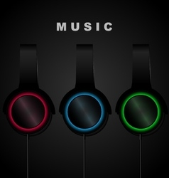 Headphone on black background music vector