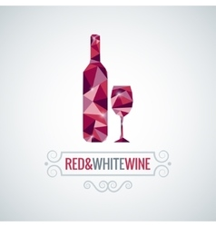 Wine bottle poly design background vector