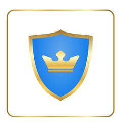 Shield gold icon with crown white vector