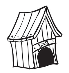 Black and white dog house vector