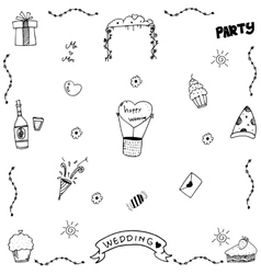 Set wedding party doodle vector