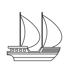 Big yacht icon outline style vector