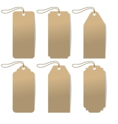 Set of six carton tags with rope vector