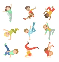 Kids performing modern dance set vector